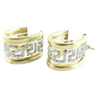 Fancy 14k Gold Wide Sparkly Greek Key Huggie Earrings