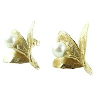 Vintage Thick 14k Gold Blooming Iris Flower Pearl Earrings 4.8gr