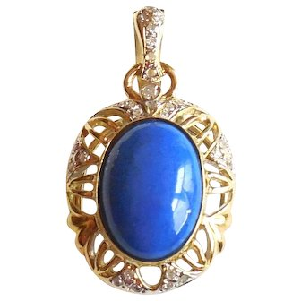 14K Gold Lapis Diamond Enhancer Pendant