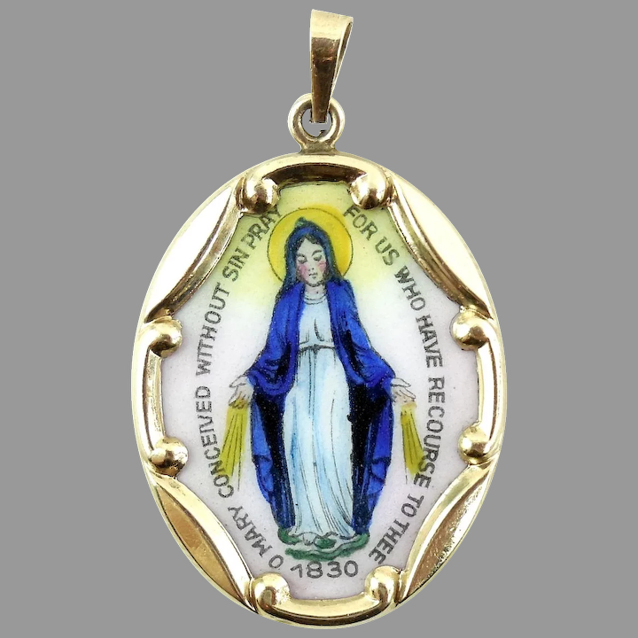 Solid 14K Yellow Gold Religious Miraculous Mary Charm Pendant