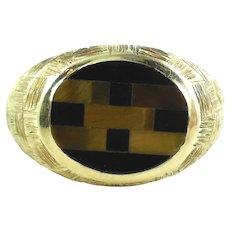14K Mosaic Mens Ring Gemstone Tiger Eye Onyx