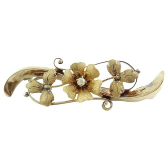 Antique Victorian 10k and 14K Gold Floral Pin