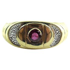 Vintage 14K Gold Ruby Ring Band Size 9.5 Mens Womens