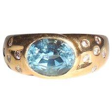 14k Gold Natural Swiss Blue Topaz Diamond Ring Mens Womens 7.5