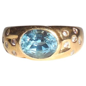 14k Gold Natural Swiss Blue Topaz Diamond Ring Mens Womens 7.5