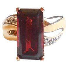 Large Late Mid Century 14K Gold Tall Chunky Garnet Diamond Ring 8.5