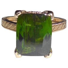 Tall Fancy 14k Gold 4.25 CT Green Tourmaline Diamond Ring Size 7.25