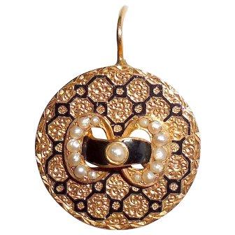 Antique Victorian 14K Gold Pearl Enam Earring Repurpose Pendant Ring