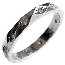 Mid Century 14K White Gold Diamond Ring Band Stacker Triangles Design Size 7