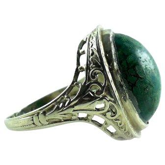 1927 Art Deco 14k Gold Filigree Green Gemstone Ring 6.25