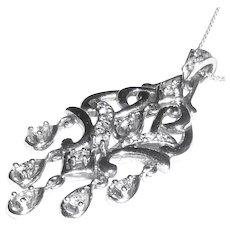 14K White Gold Diamond Lavalier Pendant Necklace