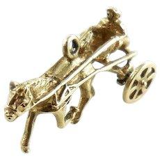 Vintage 14K Gold Sulky Race Horse Jockey Charm Movable Wheels
