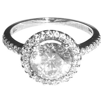 14K White Gold Jeweler Sample CZ Ring Setting for a Diamond