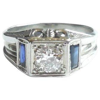 Art Deco 1920s 18K White Gold Diamond Sapphire Mens Womens Ring Size 7