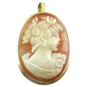 Vintage 18k Gold Carved Shell Cameo Pendant Pin Hinged Bale