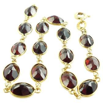 Vintage 18k Gold 15CTS Bohemian Garnet Bracelet Inversion Cut