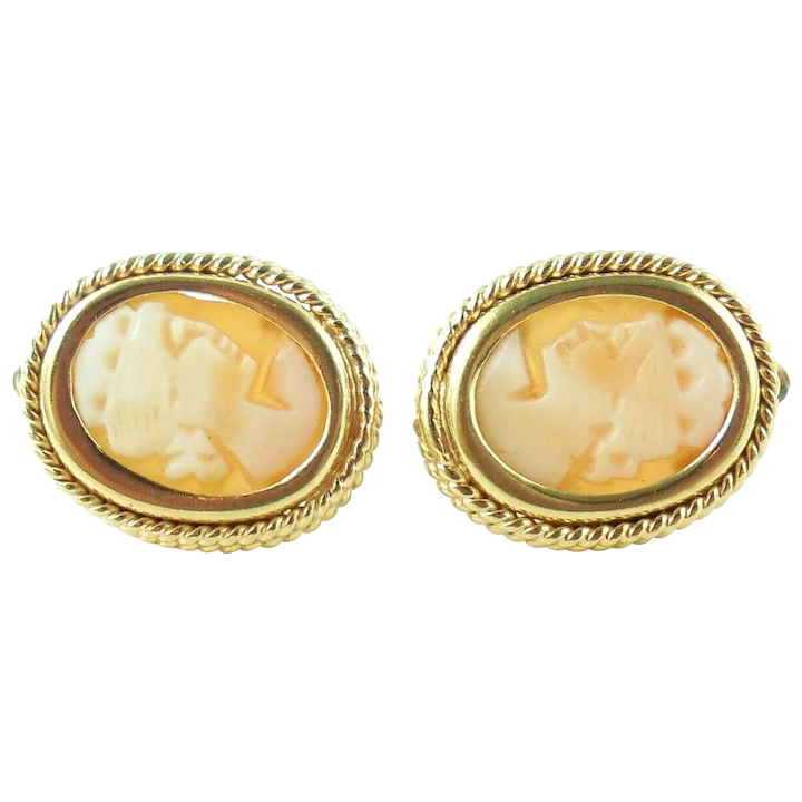 9f756667c81f5 Vintage Thick Italian 18K Gold Carved Shell Cameo Leverback Earrings Pierced