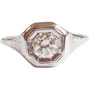 1920s Early Art Deco 18K White Gold Mine Cut Diamond Ring 7.5