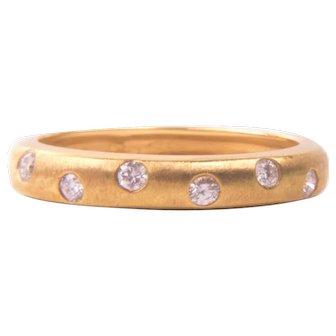 18K Gold VS Diamond Etoile Ring Band Size 10 XL