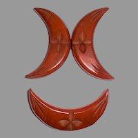 Large Size 2 Color Pin Buckle Set Butterscotch Marbled Caramel Art Deco