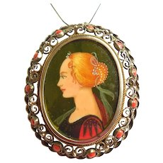 Continental Silver Mediterranean Red Coral Hand Painted Portrait Pendant Pin