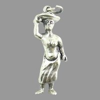 Art Deco 1942 African Villager Belgian 835 Silver Charm Euro Sterling
