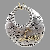 Italian Alisa Sterling Silver 18K Gold Signature Pendant