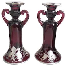 Victorian Sterling Silver Over Amethyst Glass Tall Candlesticks