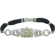 Art Deco 18K Gold Platinum Diamond Bracelet Wristwatch Non Working Watch