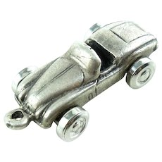 1940s Art Deco Moveable Sterling Silver Roadster Charm or Fob