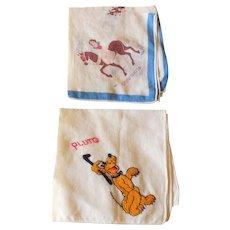 Art Deco 1930s Walt Disney Enterprises Handkerchiefs Pluto Snow White Hankies