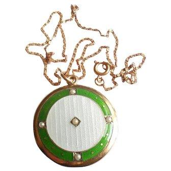Antique Art Nouveau Gold Filled French Guilloche Enamel Photo Locket Necklace