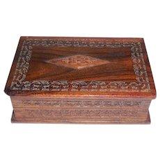 Antique Carved Mahogany Box Desk Vanity Sewing Memorial Trinket