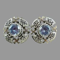 Early Vintage 980 Sterling Silver Blue Cross Screw Earrings Christian Crusader Pentecostal
