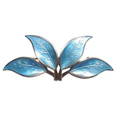 Large David Andersen 4 Leaf Enameled Sterling Silver Pin Scandinavian