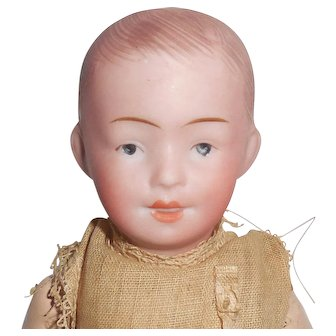 German Bisque Doll RA Character Boy Baby Molded Teeth