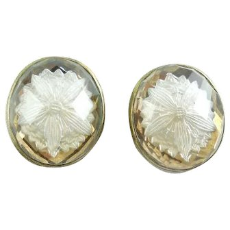 Stephen Dweck Gold And Sterling Silver Carved Flowers Intaglio Clip Earrings