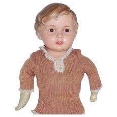 "German Celluloid Turtle Mark Boy Doll Glass Eyes 23"" Restore - Red Tag Sale Item"