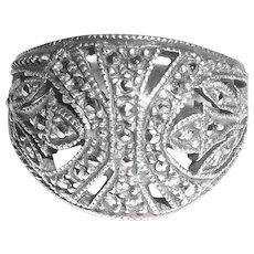 Vintage Sterling Silver Marcasites Judith Jack Cigar Band Ring Size6.75