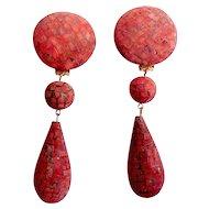 1980s Couture Les Bernard Terra Cotta Red Brown Door Knocker Shoulder Earrings Doorknocker