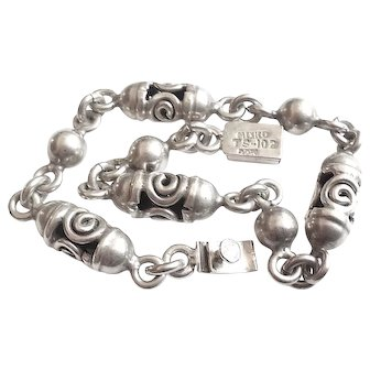 Vintage Taxco Mexican Sterling Silver Rolling Bracelet 8.25 Mens Womens