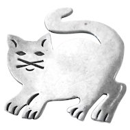 Vintage Late Mid Century Mexican Sterling Silver Stylized Cat Kitten Pin