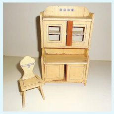 Miniature Hoosier Pantry Cabinet Salesman Sample Child's Toy Dollhouse