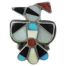 Large Native American Zuni Sterling Silver Mosaic Thunderbird Ring 6.25