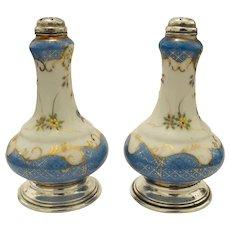 Antique Victorian Pre Mark Nippon Sterling Silver Salt Pepper Shakers Set