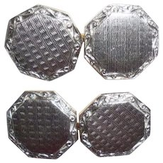 Art Deco Platinum Mens Chainlink Cufflinks Gold Wash Back No Mono