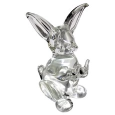 Mid Century Italian Seguso Art Glass Bunny Rabbit Sculpture Figure