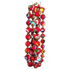 Vintage Red Italian Murano Millefiori Hand Fused Glass Necklace 29.5in