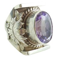 XL Vintage Chunky Handmade Sterling Silver 17m Amethyst Ring Size 9 Mens Womens