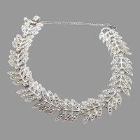 40s 50s Late Art Deco Sterling Silver Rhodium Marcasite Bracelet 7